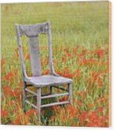 Old Chair In Wildflowers Wood Print