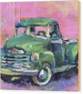 Old Chevy Chevrolet Pickup Truck On A Street Wood Print
