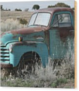Old Chevy Farm Truck In The Field Wood Print