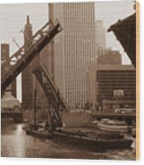 Old Chicago River Bridges Wood Print