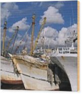Old Chinese Fishing Boats Wood Print