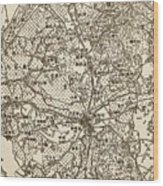 Old Chinese Map Wood Print