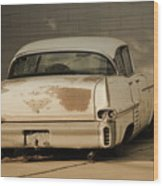 Old Cadillac In Sepia Tones Wood Print