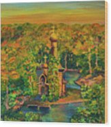 Old Church On The River Wood Print