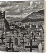 Old Church Taos Pueblo Wood Print by Lou  Novick