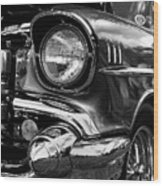 Old Classic Car In Black And White Wood Print