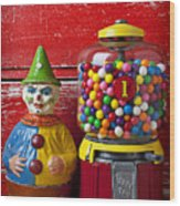 Old Clown Toy And Gum Machine  Wood Print by Garry Gay