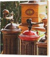 Old Coffee Grinders Wood Print
