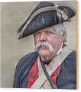 Old Colonial Soldier Portrait Wood Print