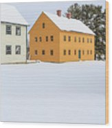 Old Colonial Wood Framed Houses In Winter Wood Print