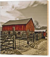 Old Country Farm Wood Print