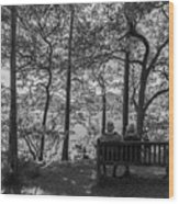 Old Couple On The Bench By The Lake Wood Print
