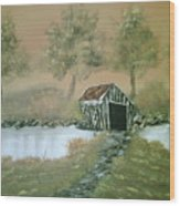 Old Covered Bridge Wood Print