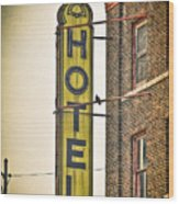 Old Detroit Hotel Sign Wood Print