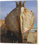 Old Dilapidated Wooden Boat  Wood Print