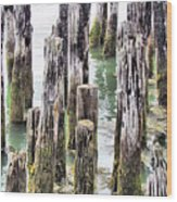 Old Dock Remains Wood Print
