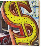 Old Dollar Sign Wood Print