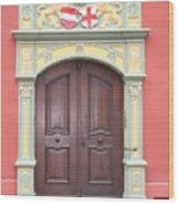 Old Door And Emblem Wood Print