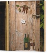 Old Door And Wine Wood Print