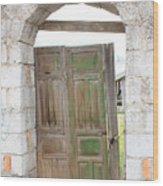 Old Door In A Brick Wall Wood Print