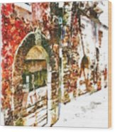 Old Doors Of The Houses Of The Village Wood Print