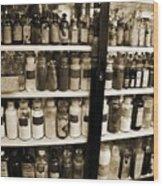 Old Drug Store Goods Wood Print