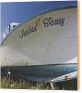 Old Dry Docked Boat Wood Print