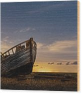 Old Dungeness Fishing Boat Under The Stars Wood Print