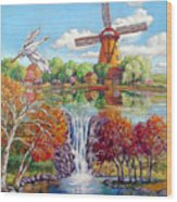 Old Dutch Windmill Wood Print