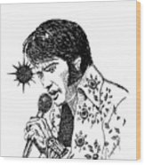 Old Elvis Wood Print