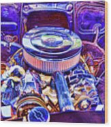 Old Engine Of American Car Wood Print