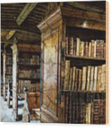 Old English Library Wood Print