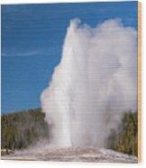 Old Faithful Eruption Two Wood Print