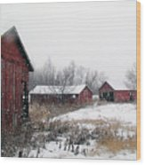 Old Farm Sheds In Snow Wood Print