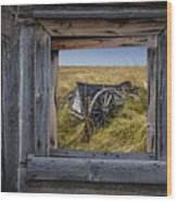 Old Farm Wagon Viewed Through A Barn Window Wood Print