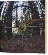 Old Farm Wagon Wheel Wood Print