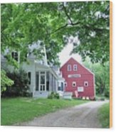 Old Farmhouse And Red Barn Wood Print
