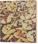 Old Fashion Landmark Buttons Wood Print