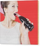 Old-fashion Pop Art Girl Drinking From Soda Bottle Wood Print