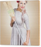 Old Fashion Woman Spring Cleaning With Broom Wood Print