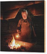 Old-fashioned Blacksmith Heating Iron Wood Print