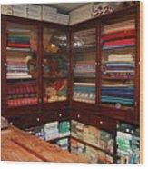Old-fashioned Fabric Shop Wood Print