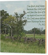 Old Fashioned Fence  Psalm Three Vs Five Six And Eight Wood Print