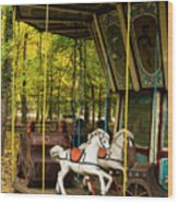 Old-fashioned Merry-go-round Wood Print