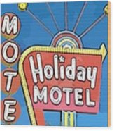 Old Fifties Vegas Hotel Sign Painting Wood Print
