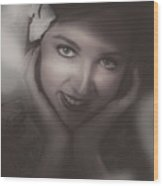 Old Film Noir Photo On The Face Of A 1920s Lady Wood Print