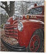 Old Fire Truck Wood Print