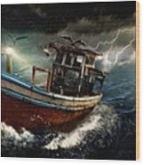 Old Fishing Boat In A Storm  L A Wood Print