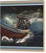 Old Fishing Boat In A Storm L B With Decorative Ornate Printed Frame. Wood Print