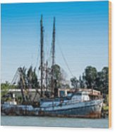 Old Fishing Boat In Port Wood Print